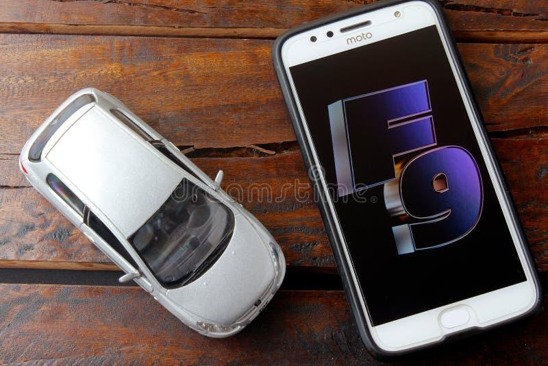 Rio de Janeiro, Brazil - February 09, 2020: Fast and Furious 9 movie logo on the Moto G5s Plus phone screen. 2020 American action stock photos
