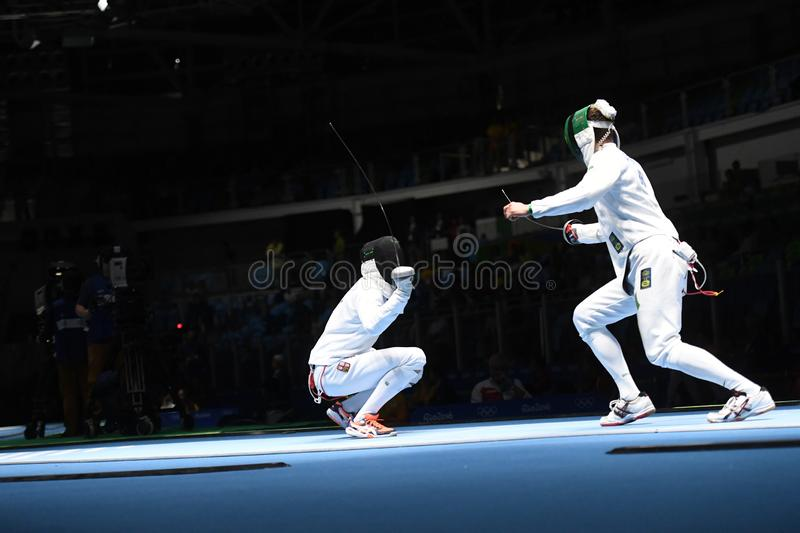 Fencing competition. Rio de Janeiro - Brazil  Fencing competition during the 2016 Olympic Games stock photography