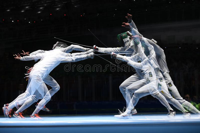Fencing competition. Rio de Janeiro - Brazil  Fencing competition during the 2016 Olympic Games royalty free stock photography