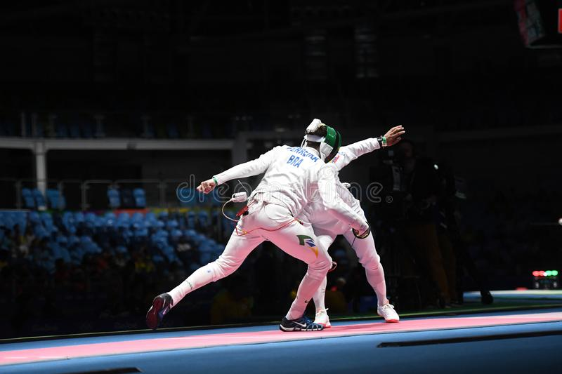 Fencing competition. Rio de Janeiro - Brazil  Fencing competition during the 2016 Olympic Games stock images