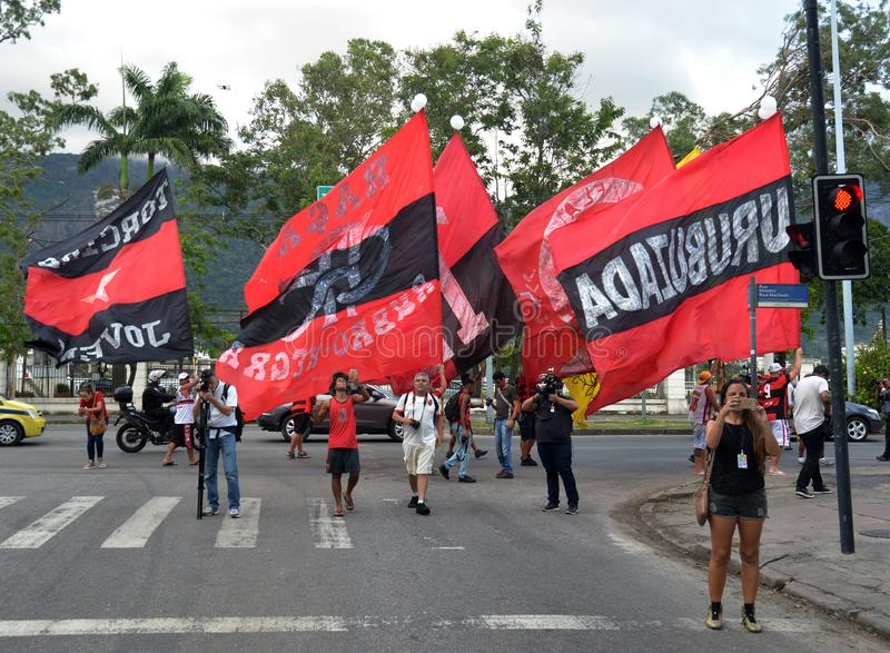 Soccer Fans Flamengo. Rio de Janeiro - Brazil , Flamengo Football Club supporters making demonstrations in solidarity with the players killed in the fire at the royalty free stock images