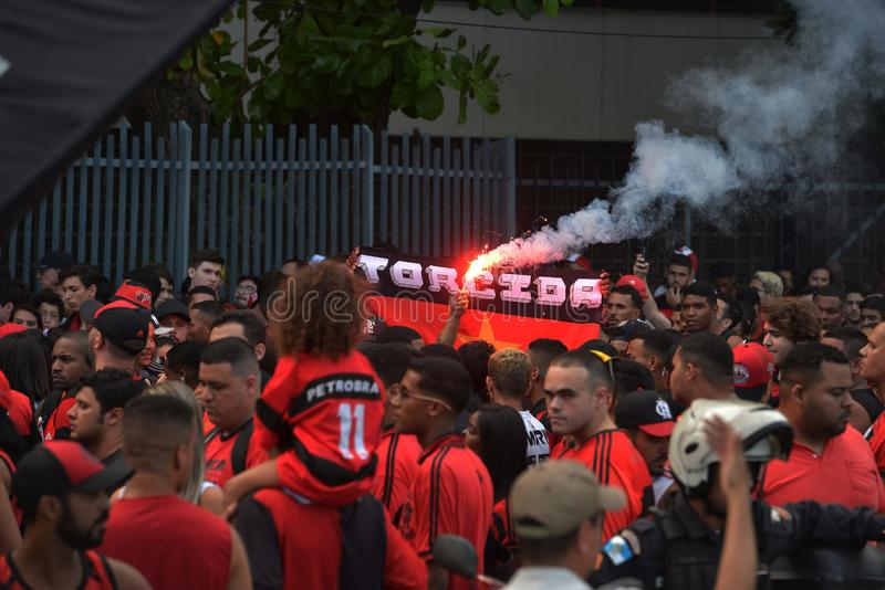 Soccer Fans Flamengo. Rio de Janeiro - Brazil , Flamengo Football Club supporters making demonstrations in solidarity with the players killed in the fire at the royalty free stock photography