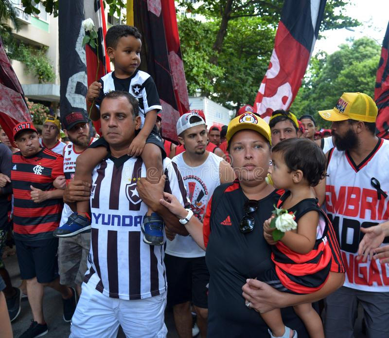 Soccer Fans Flamengo. Rio de Janeiro - Brazil , Flamengo Football Club supporters making demonstrations in solidarity with the players killed in the fire at the royalty free stock image