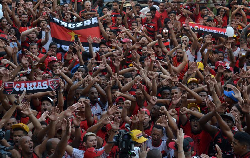 Soccer Fans Flamengo. Rio de Janeiro - Brazil , Flamengo Football Club supporters making demonstrations in solidarity with the players killed in the fire at the stock images