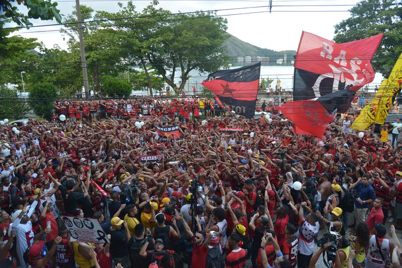Soccer Fans Flamengo. Rio de Janeiro - Brazil , Flamengo Football Club supporters making demonstrations in solidarity with the players killed in the fire at the stock photo