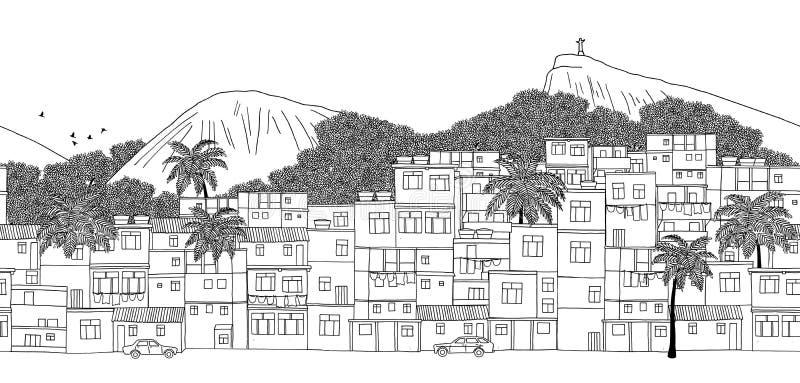 Rio de Janeiro, Brazil - hand drawn black and white illustration stock illustration