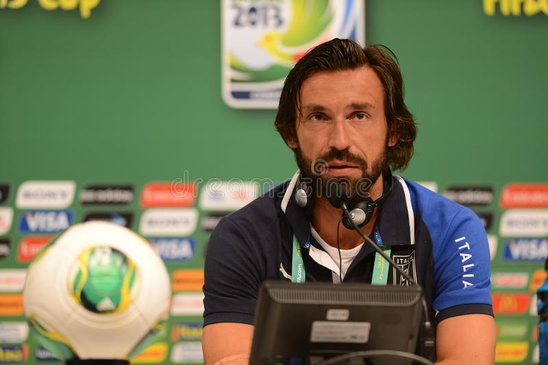 Player Pirlo. Rio de Janeiro - Brazil  Italia national team player Pirlo  trains for World Cup royalty free stock photography