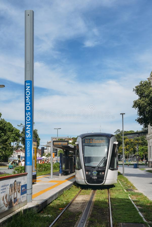 Municipality of Rio de Janeiro introduced VLTs vehicle light rail in 2016, which runs in the downtown district stock photo