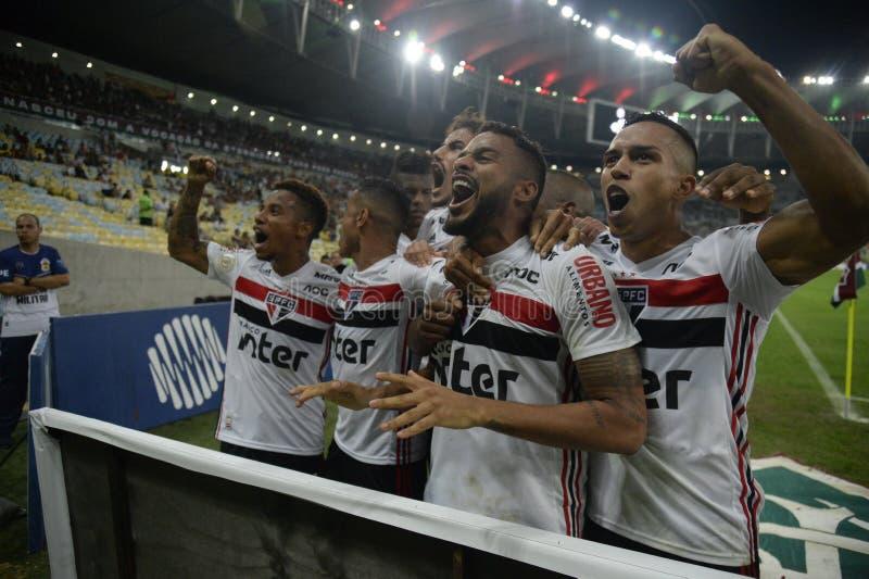 Soccer brazil. Rio de Janeiro, Brazil, July 27, 2019. Football player Reinaldo from the são Paulo team, during the Fluminense x São Paulo match for stock images