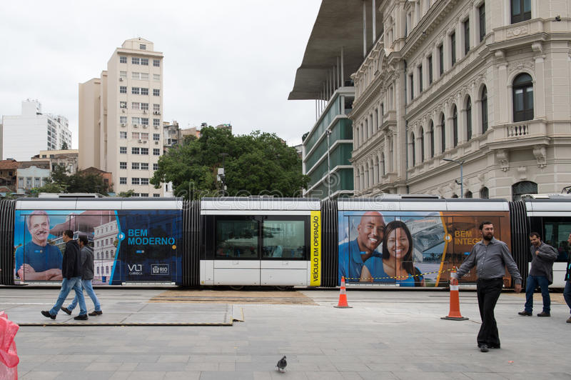 Rio de Janeiro. Brazil - july 20, 2016: New train mode, the VLT becomes part of the Carioca transport system in the city's downtown area and Porto Maravilha stock images