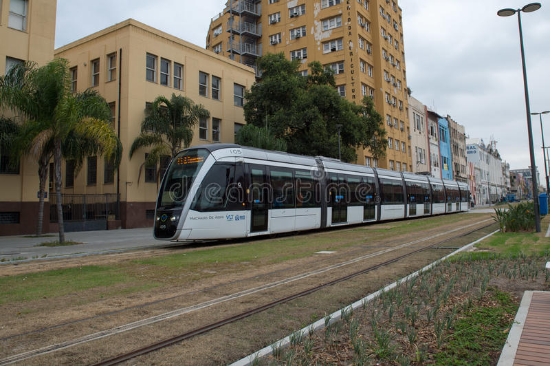 Rio de Janeiro. Brazil - july 20, 2016: New train mode, the VLT becomes part of the Carioca transport system in the city's downtown area and Porto Maravilha stock photography