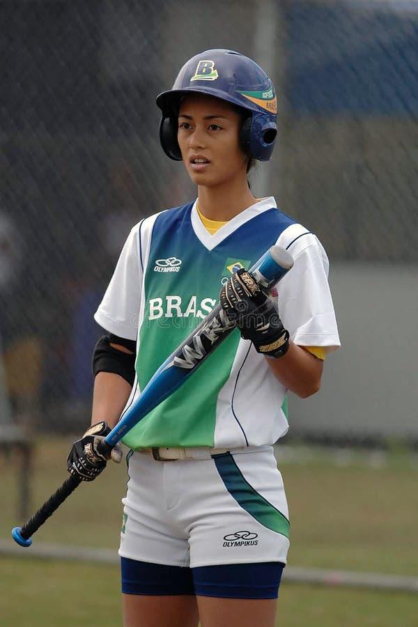 Softball players stock photography