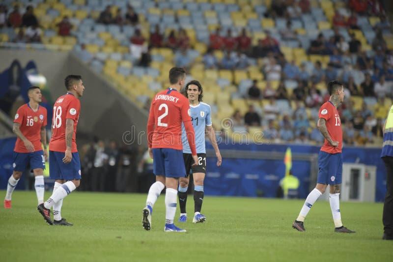 Copa America. RIO DE JANEIRO, BRAZIL - JUNE 24, 2019: Copa América Group C game between Chile and Uruguay in the stadium of Maracanã. Uruguayan stock photo
