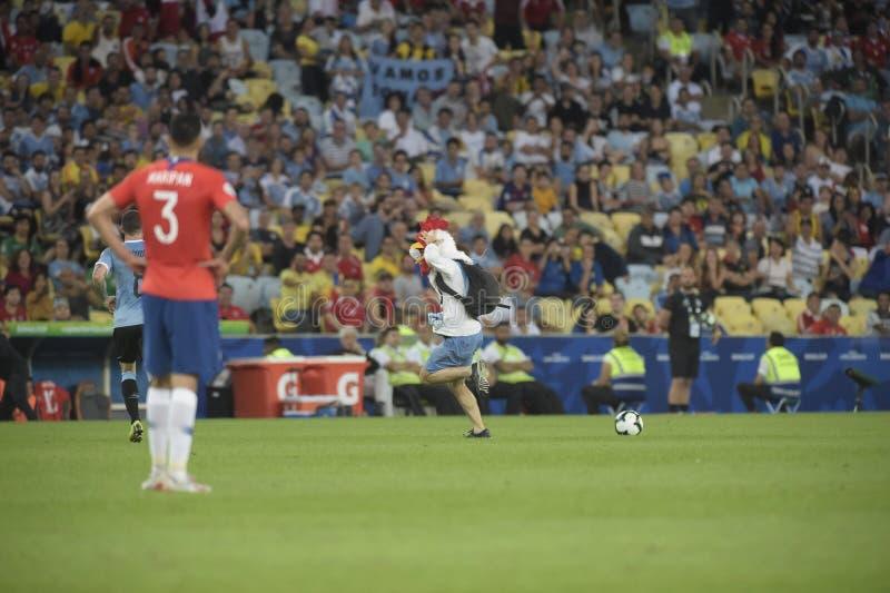 Copa America. RIO DE JANEIRO, BRAZIL - JUNE 24, 2019: Copa América Group C game between Chile and Uruguay in the stadium of Maracanã. Uruguayan stock photos