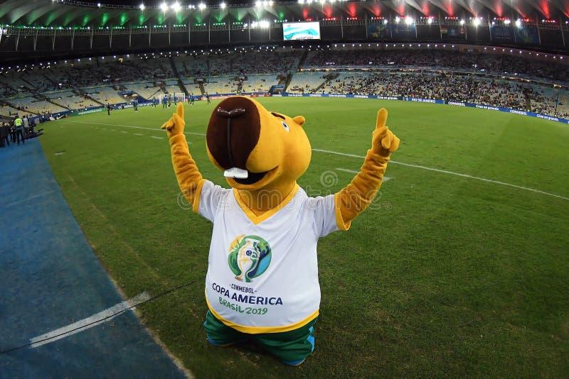 Copa America 2019 - Mascot Zizito. Rio de Janeiro, Brazil, June 18, 2019.nMascot of the Copa America 2019 Zizito, before the game Bolivia vs Peru for the Copa stock photo