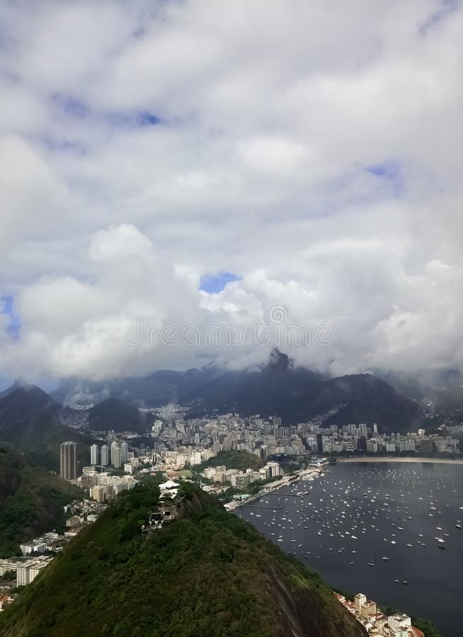 Rio de Janeiro Brazil de la montagne de Sugarloaf Baie de Botagofo et de Guanabara photo libre de droits