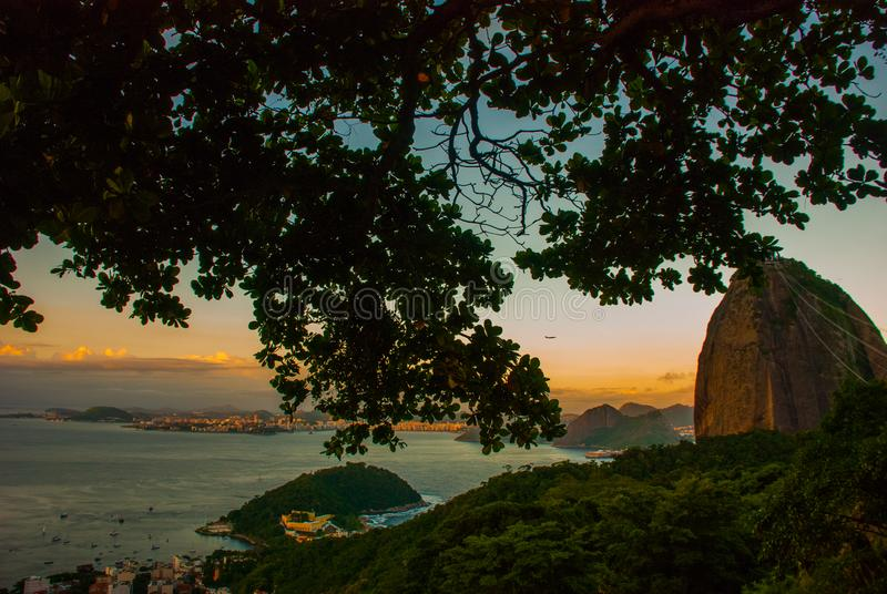 Rio de Janeiro, Brazil: Landscape with panoramic view of the city, Mount Corcovado as seen from the Sugarloaf stock photo
