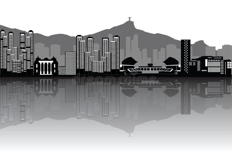 Rio De Janeiro Brazil linia horyzontu ilustracja wektor