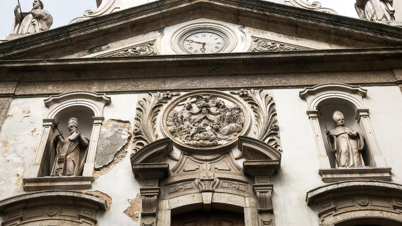 RIO DE JANEIRO, BRAZIL- 25, MAY, 2016: close up of the exterior of the church of our lady lapa merchant in rio. De janeiro, brazil royalty free stock photography
