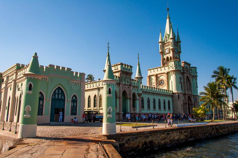 Gothic Style Palace of Fiscal Island in Rio de Janeiro, Brazil. Rio de Janeiro, Brazil - May 1, 2018: Gothic style palace of Fiscal Island is a popular place to royalty free stock image