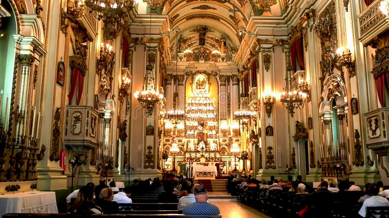 RIO DE JANEIRO, BRAZIL- 25, MAY, 2016: interior view of the church of st joseph in rio royalty free stock photo