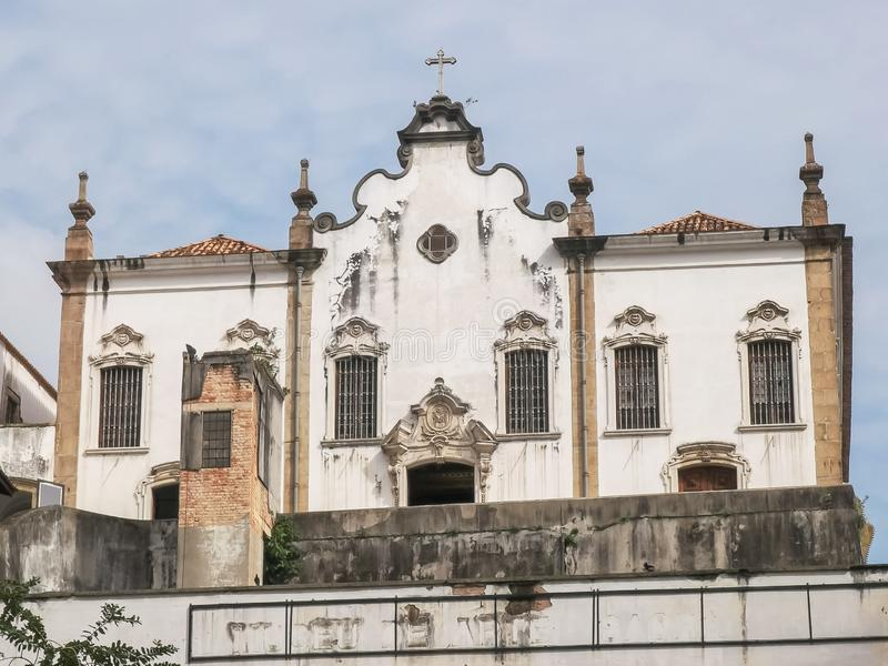 RIO DE JANEIRO, BRAZIL- 25, MAY, 2016: exterior view of the convent saint anthony in rio. RIO DE JANEIRO, BRAZIL- 25, MAY, 2016: low angle exterior of the royalty free stock photo