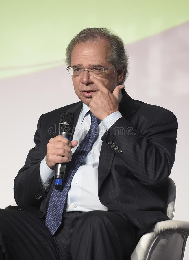 Minister of Economy Paulo Guedes. Rio de Janeiro -Brazil May 17, 2019, press conference as Minister of Economy Paulo Guedes royalty free stock photography