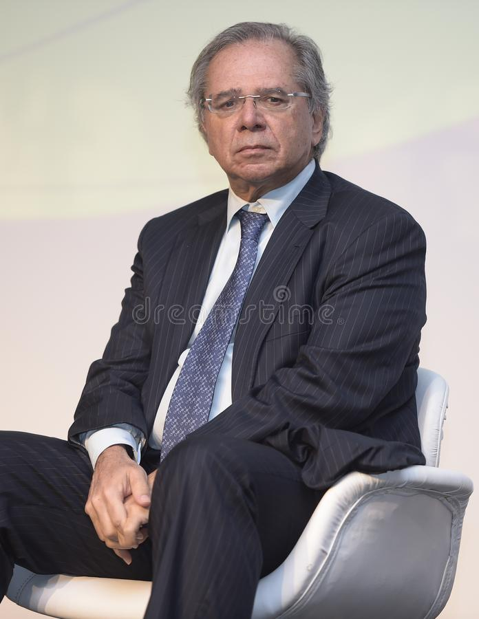 Minister of Economy Paulo Guedes. Rio de Janeiro -Brazil May 17, 2019, press conference as Minister of Economy Paulo Guedes stock photos