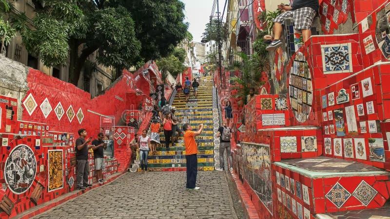 RIO DE JANEIRO, BRAZIL- 25,MAY, 2016: a tourist photographs selaron steps in rio stock image