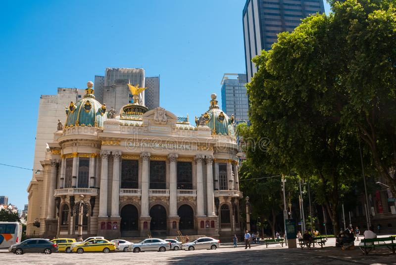 Rio de Janeiro, Brazil: The Municipal Theatre in Rio de Janeiro. Brazil royalty free stock photography