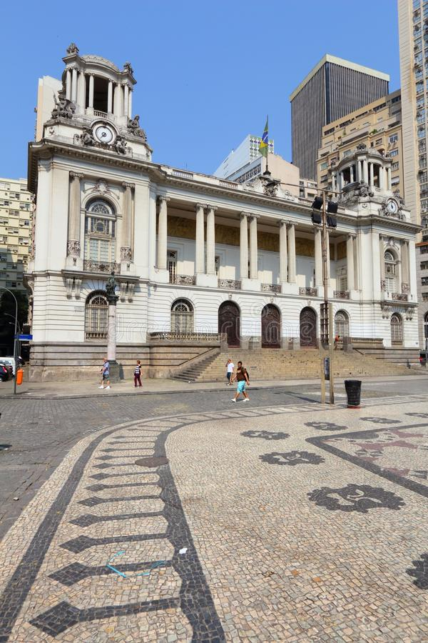 Rio de Janeiro. BRAZIL - OCTOBER 19, 2014: People walk by Municipal Chamber in downtown . In 2013 1.6 million international tourists visited Rio stock images