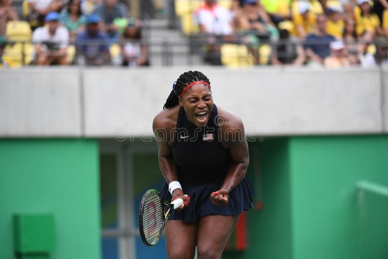 Tennis -Serena Williams. Rio de Janeiro- Brazil Tennis game during the 2016 Olympic Games at the Olympic Park. American player Serena Williams royalty free stock photo
