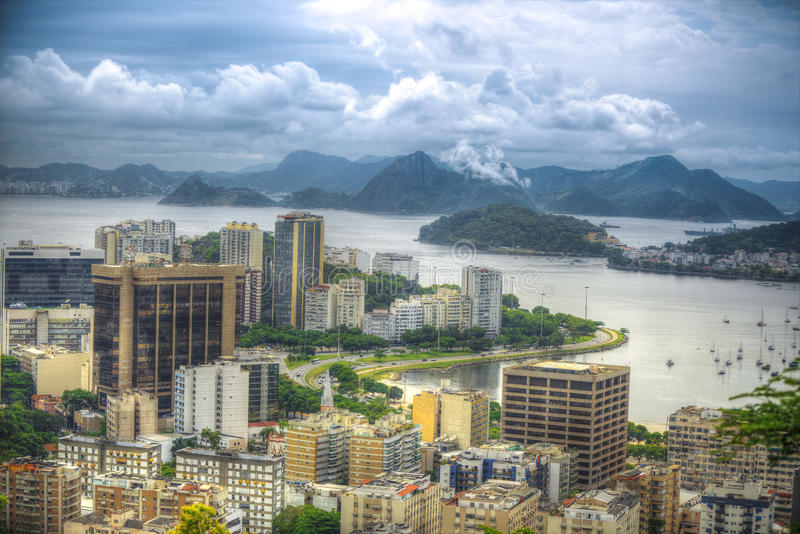 Rio De Janeiro, Brazil. View of the city through the bay stock images
