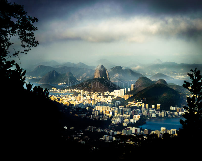 Rio de Janeiro Brazil view of the dramatic natural skyline from the surrounding jungle at the Vista Chinesa royalty free stock photo