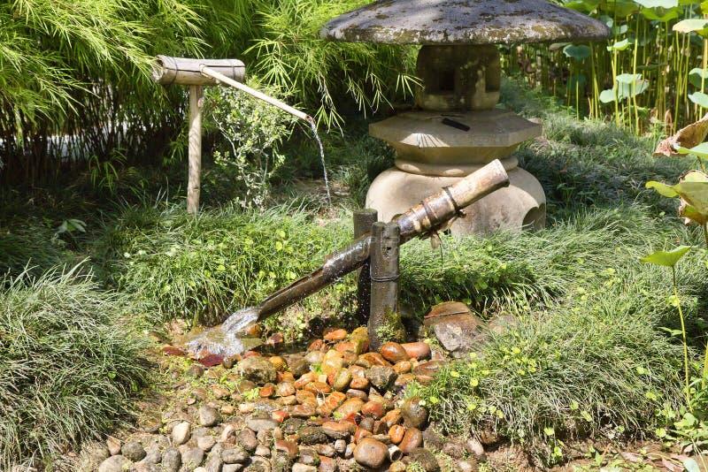 Rio De Janeiro, Brazylia, japończyka kąt w ogródzie botanicznym bambusa spadać fontanny japończyka woda obraz stock