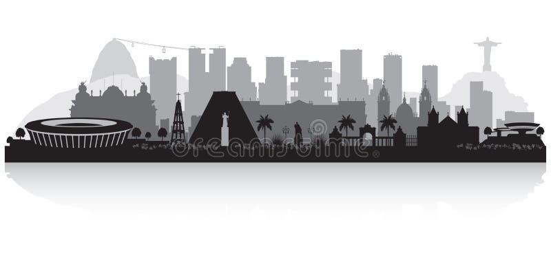Rio De Janeiro Brazylia miasta linii horyzontu sylwetka ilustracja wektor