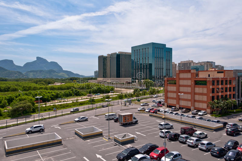Rio de Janeiro Business District. Modern financial district view with mountains in the horizon in Rio de Janeiro, Barra da Tijuca royalty free stock images