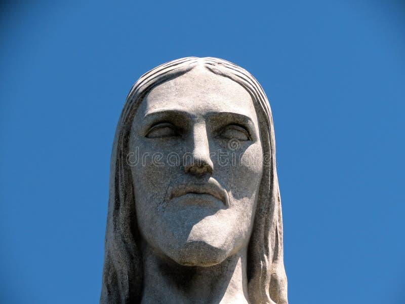 Rio de Janeiro Christ das Erlöser-Statuen-Gesicht nah lizenzfreies stockfoto