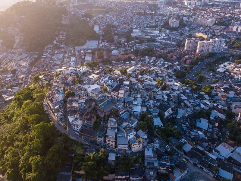 Rio de Janeiro city aerial view. Favelas hills. Sunset backlight. royalty free stock image