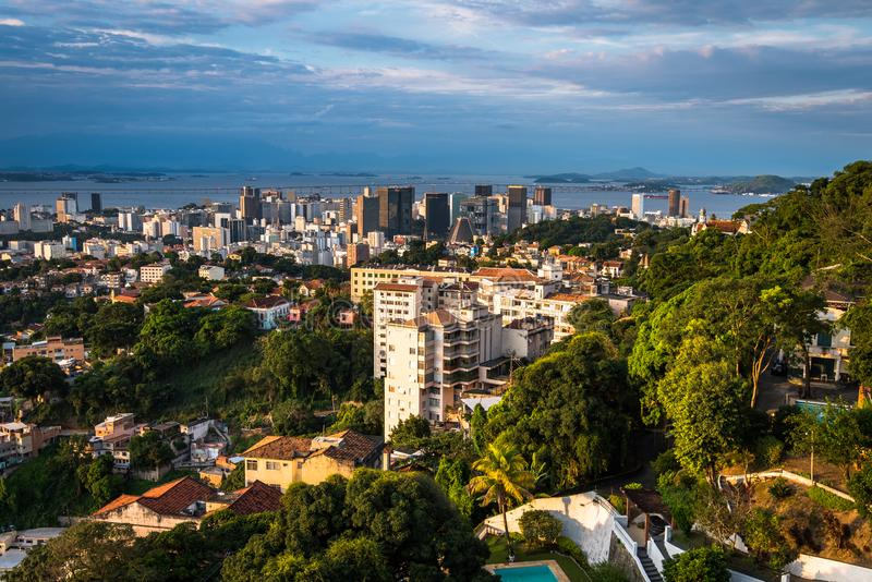 Rio de Janeiro City Downtown View by Sunset stock images
