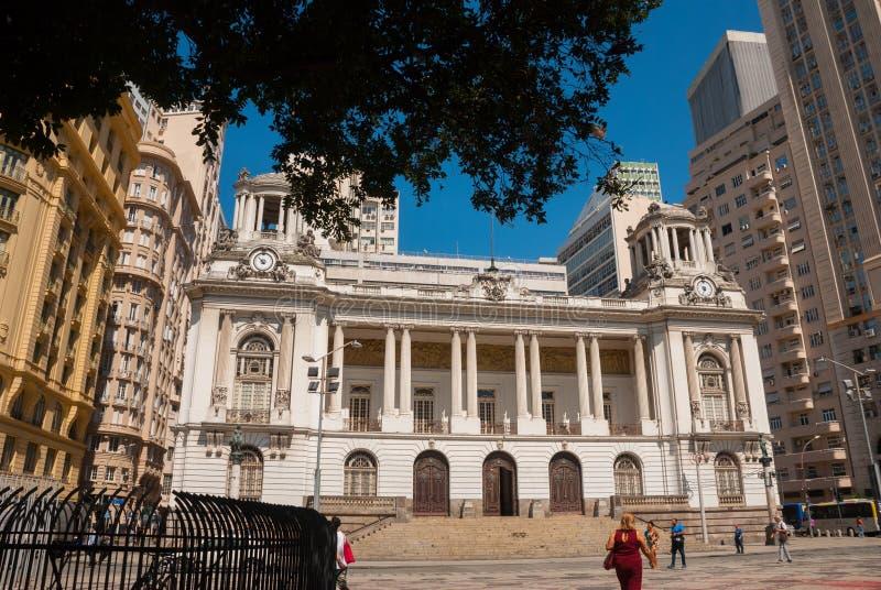 Rio de Janeiro City Hall _ Lokaliserat i centret av staden, ?r det bland de mest fotograferade byggnaderna i Rio de Janeiro arkivfoton