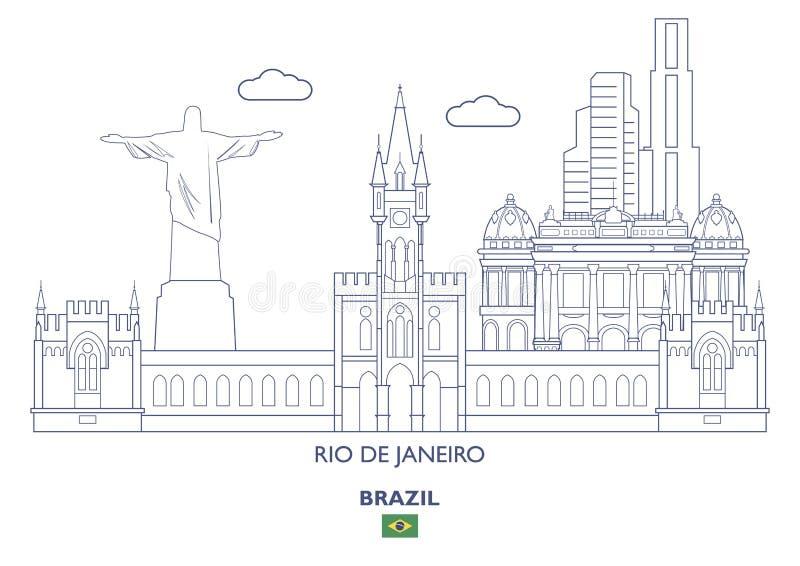 Rio De janeiro City Skyline, Brasil ilustração stock