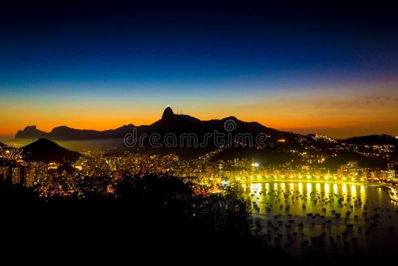 Rio de Janeiro City top view with Corcovado Christ the Reedeemer Pedra da Gavea and Enseada de Botafogo stock photos