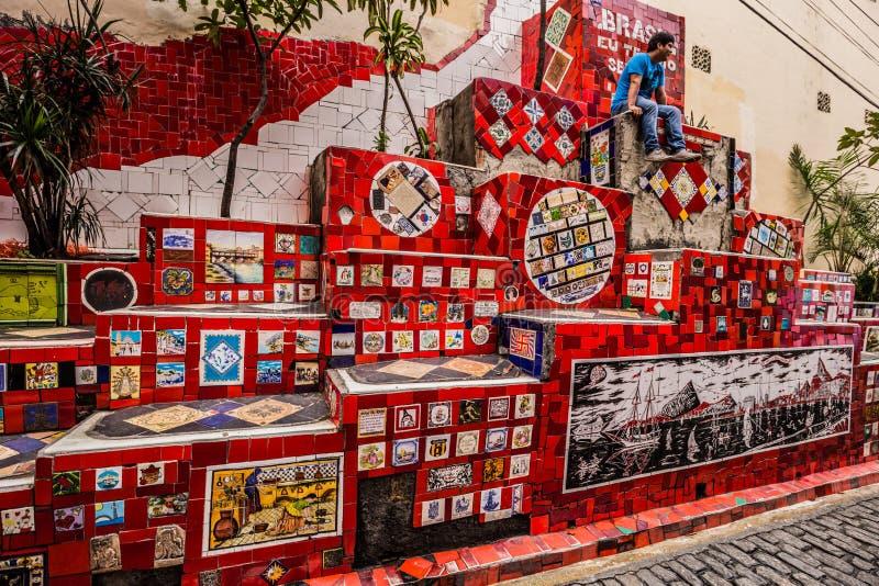 Rio de Janeiro - 21 czerwca 2017: Selaron Steps w historycznym centrum Rio de Janeiro, Brazylia obrazy royalty free