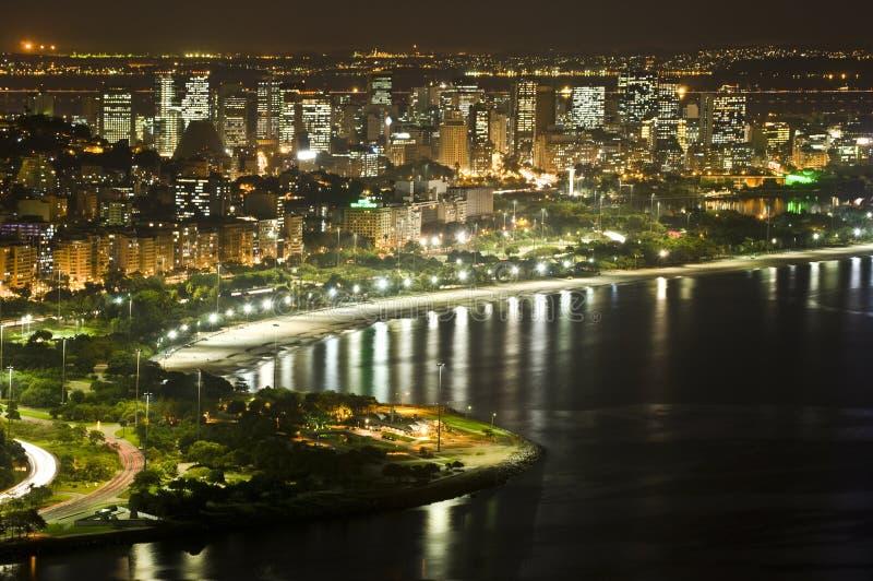 Rio de Janeiro downtown. In a noturne shot from Morro da Viuva hill royalty free stock image