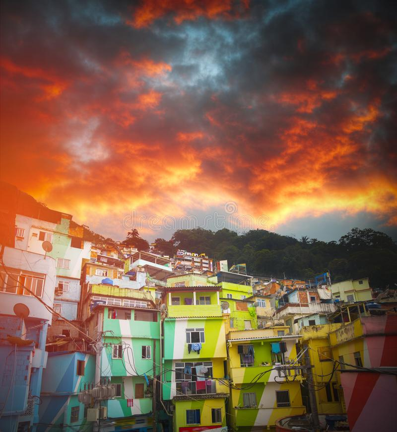 Rio de Janeiro downtown and favela royalty free stock images