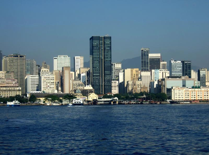 Rio de Janeiro downtown view. With ferry station and downtown skyline on the background stock image