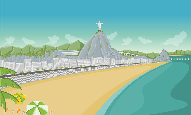 Rio de Janeiro, el Brasil. ilustración del vector
