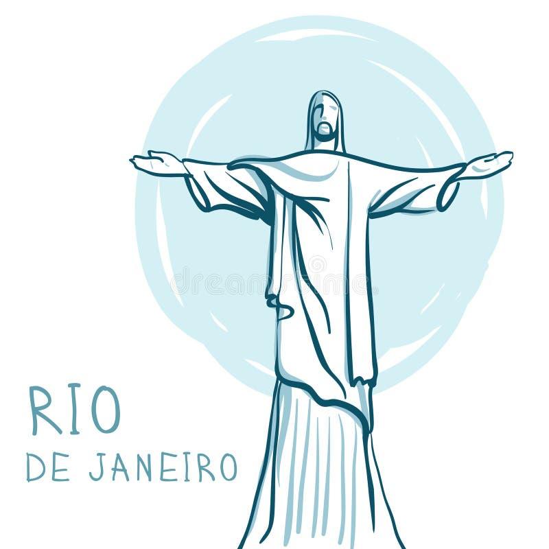 Rio de Janeiro en Christus de Verlosser, Brazilië stock illustratie