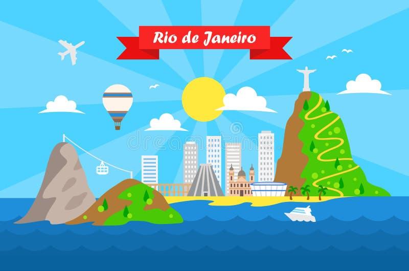 Rio de Janeiro färgrik bakgrundsvektor royaltyfri illustrationer